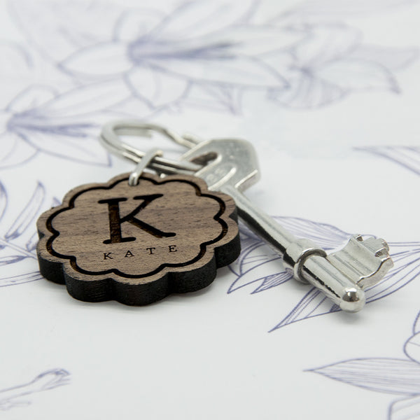 Flower Wooden Keyring with Personalised Initial and Name