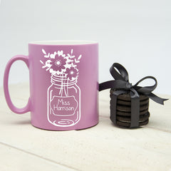 Teacher's Flower Mug - Pink, Black, Blue, Green or Orange - Luxe Gift Store - 1