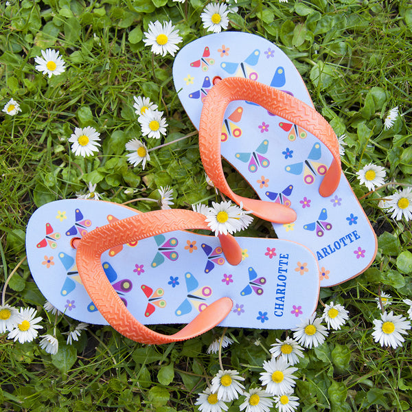 Girl's Butterfly Personalised Flip Flops