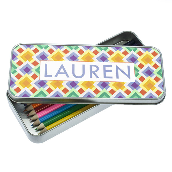 Girl's Funky Diamond Pattern Personalised Pencil Case
