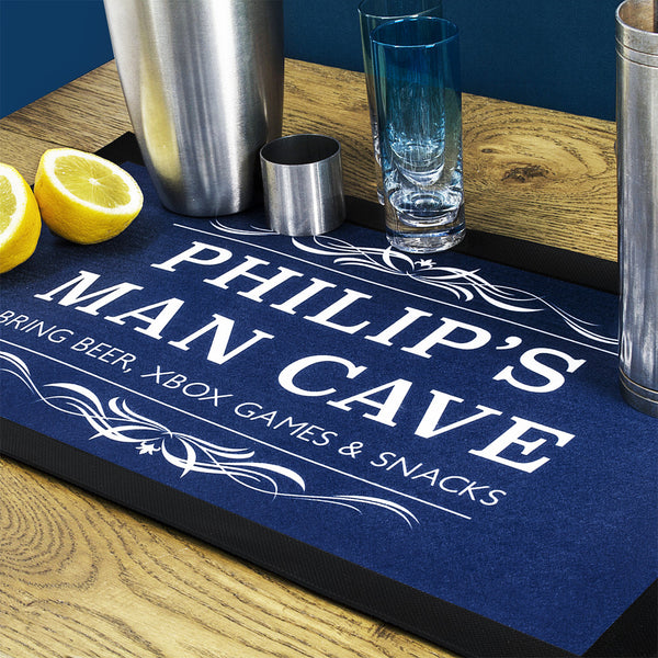 Man Cave Personalised Bar Mat