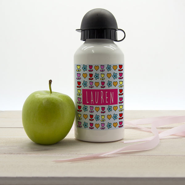 Girl's Dainty Floral and Heart Personalised Water Bottle