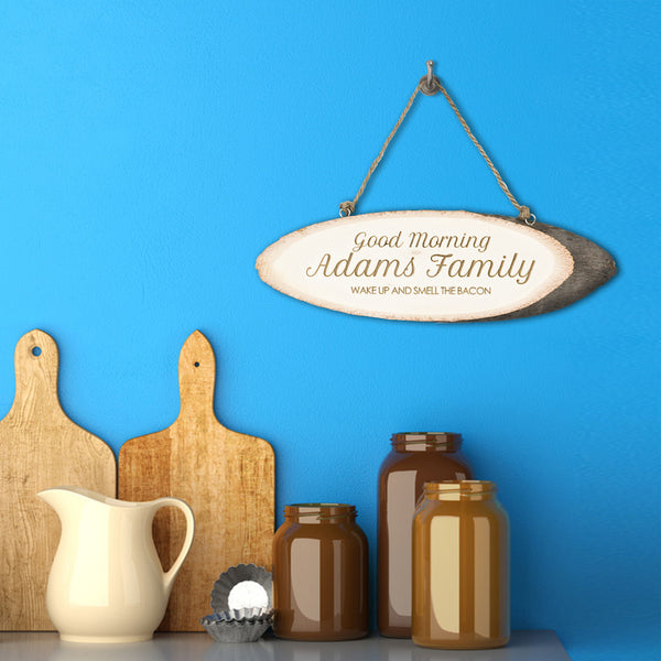 'Good Morning Family' Personalised Wooden Sign
