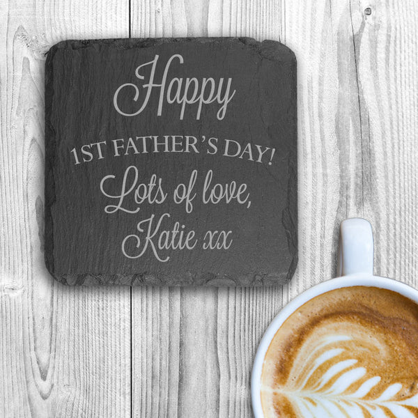 Dad's 'Happy First Father's Day' Personalised Square Slate Keepsake