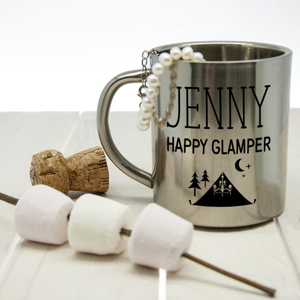 Women's 'Happy Glamper' Personalised Outdoor Mug