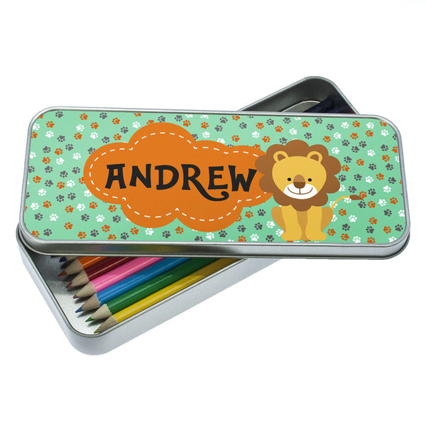 Kid's Happy Lion Personalised Pencil Case
