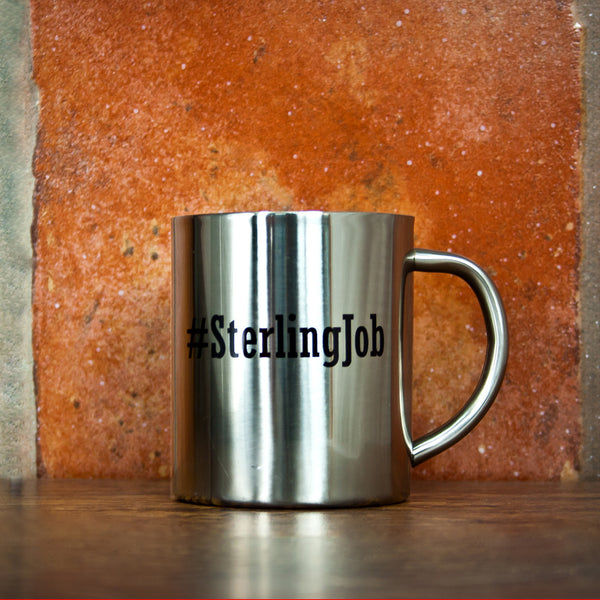 Hashtag Open Personalised Silver Outdoor Mug