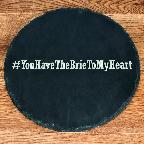 Hashtag Open Phrase Personalised Round Slate Cheese Board