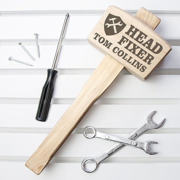 Men's 'Head Fixer' Personalised Wooden Mallet