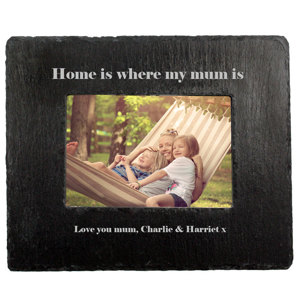 Mum's 'Home Is Where My Mum Is' Personalised Slate Photo Frame