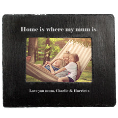 Mum's 'Home Is Where My Mum Is' Personalised Slate Photo Frame - Luxe Gift Store