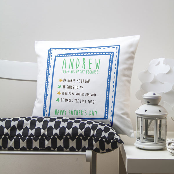Dad's 'I Love Daddy Because...' Personalised Cushion Cover