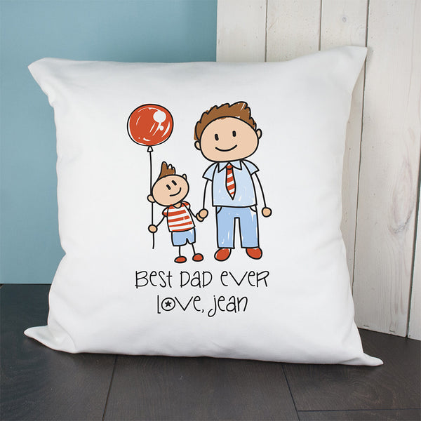 Dad's 'I Love My Dad' Personalised Kid's Artwork Cushion Cover
