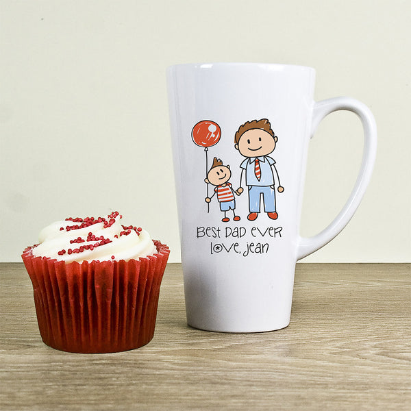 Dad's 'I Love My Dad' Personalised Kid's Artwork Latte Mug