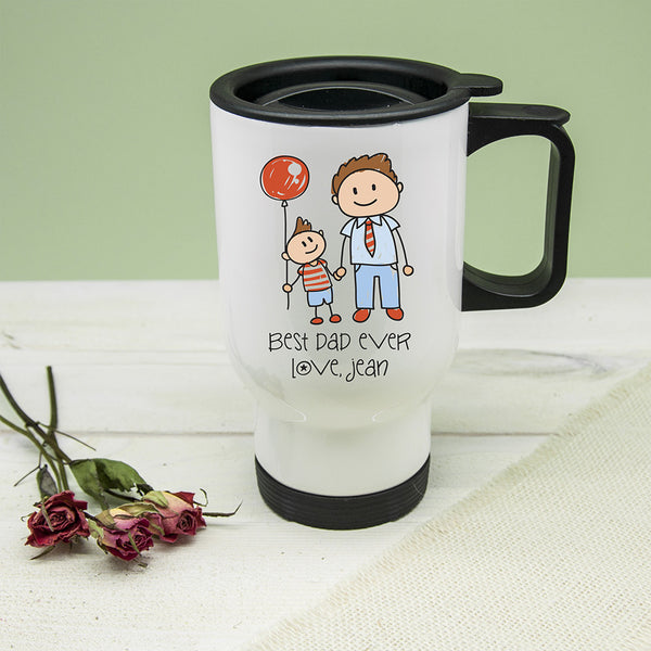 Dad's 'I Love My Dad' Personalised Kid's Artwork Travel Mug