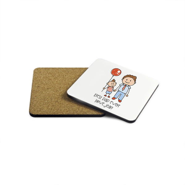 Dad's 'I Love My Dad' Personalised Kid's Artwork Wooden Coaster