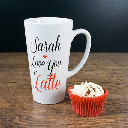 'I Love You A Latte' Personalised Latte Mug