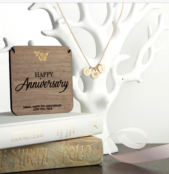 Happy Anniversary Personalised Necklace - Gold