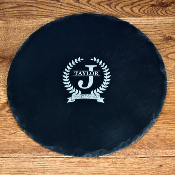 Initial and Surname of Honour Personalised Round Slate Cheese Board