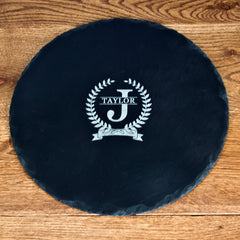 Initial and Surname of Honour Personalised Round Slate Cheese Board - Luxe Gift Store