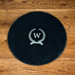 Initial Of Honour Personalised Round Slate Cheese Board -