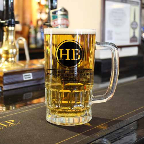 Beer Glass Tankard Personalised Initials Circled