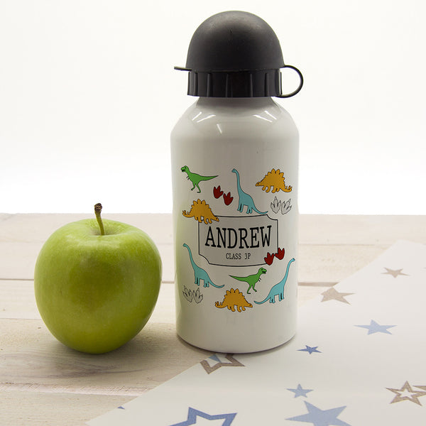 Kid's Jurassic Fun Silhouette Personalised Water Bottle
