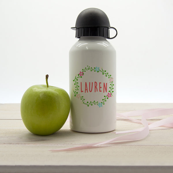 Kid's Wreath Festival Personalised Water Bottle - Pink or Blue
