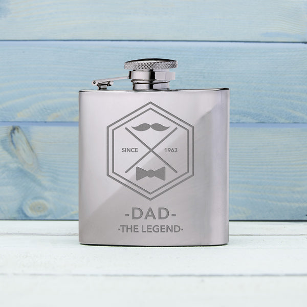 Dad's 'Legend' Personalised Silver Hip Flask