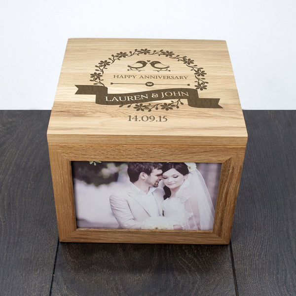 Happy Anniversary 'Love Birds' Personalised Oak Photo Keepsake Box
