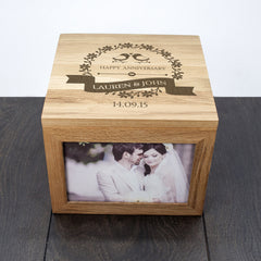 Happy Anniversary 'Love Birds' Personalised Oak Photo Keepsake Box - Luxe Gift Store