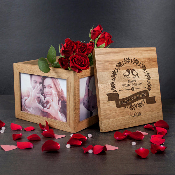 'Happy Valentines Day' Personalised Love Birds Oak Photo Keepsake Box