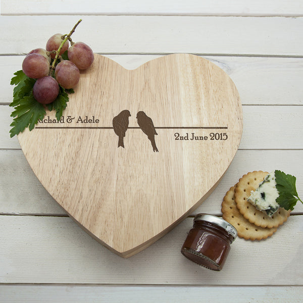 'Love Birds' Romantic Heart Personalised Cheese Board