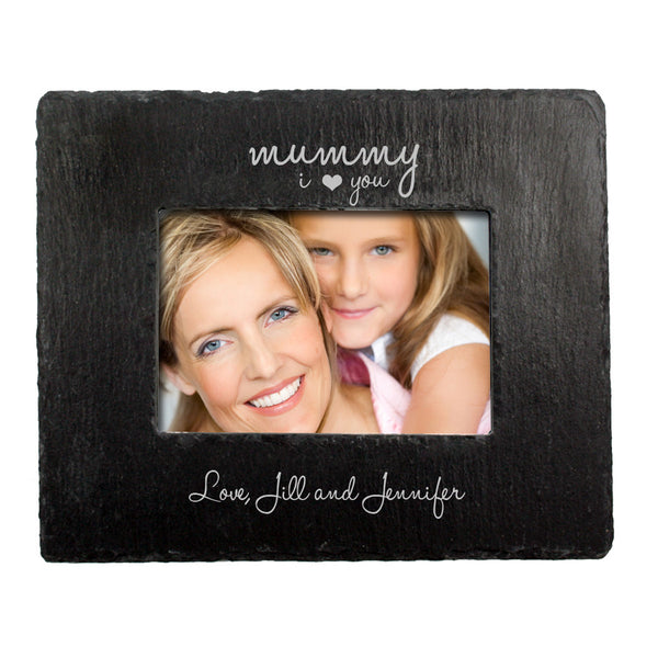 Mum's 'Love You Mummy' Personalised Slate Landscape Photo frame
