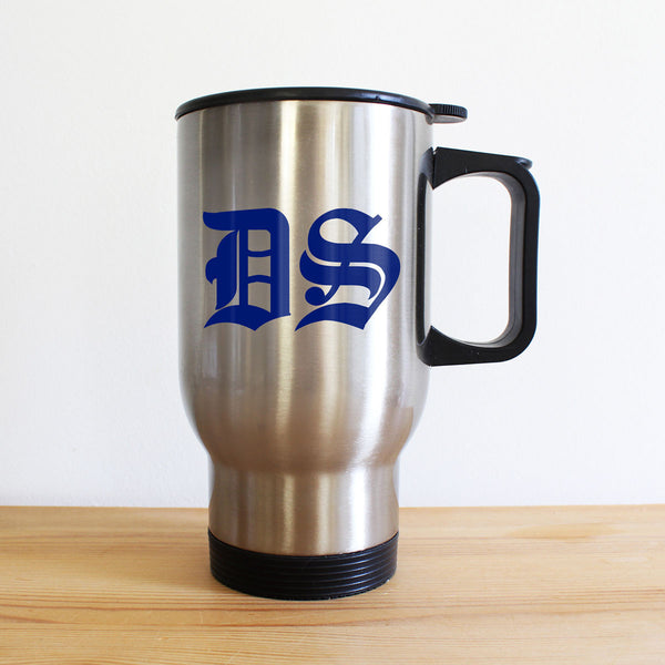 Medieval Initials Personalised Silver Travel Mug