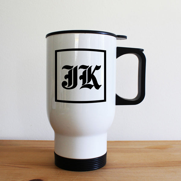 Medieval Initials Personalised White Travel Mug