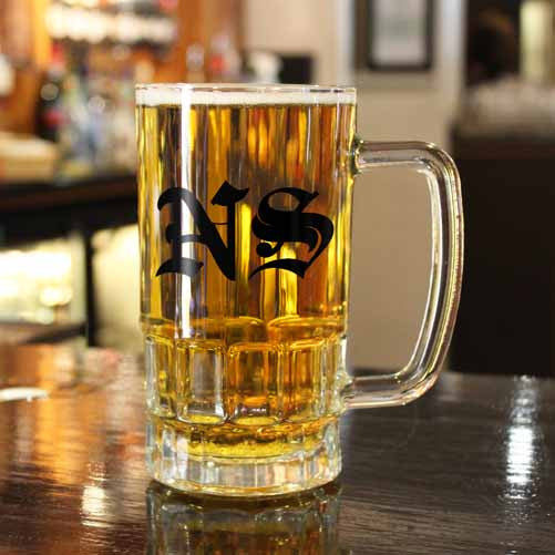 Medieval Text Personalised Monogram Beer Glass Tankard