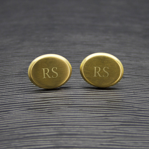 Men's Personalised Matte Finish Brushed Gold Oval Cufflinks