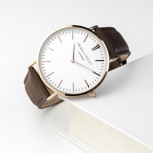 Men's Modern-Vintage Personalised Rose Gold Leather Watch In Brown