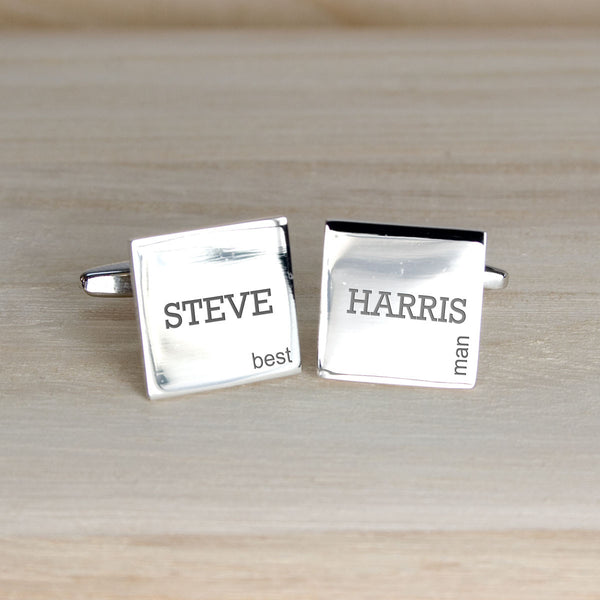 Men's Personalised Modern Silver Plated Wedding Cufflinks
