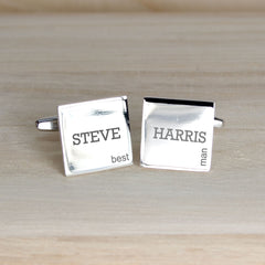 Men's Personalised Modern Silver Plated Wedding Cufflinks -