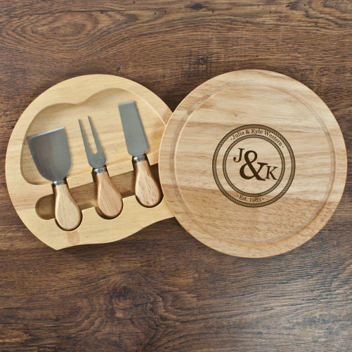 Couple's Monogram Personalised Cheese Board Set