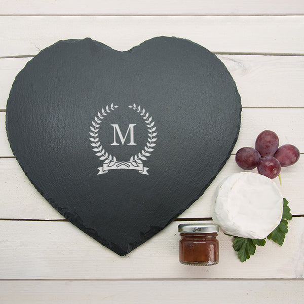 Monogrammed Personalised Wreath Heart Slate Cheese Board