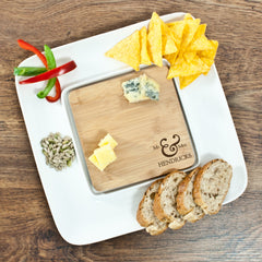 Couple's 'Mr & Mrs' Personalised Bamboo Square Serving Platter - Luxe Gift Store
