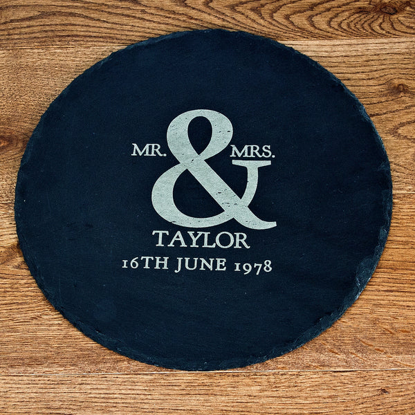 Couple's 'Mr & Mrs' Personalised Round Slate Cheese Board