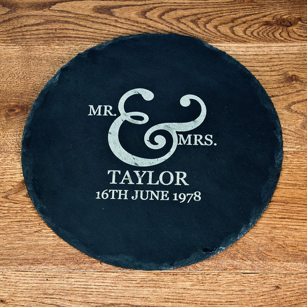 Romantic Couple's 'Mr & Mrs' Personalised Round Slate Cheese Board