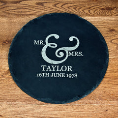 Romantic Couple's 'Mr & Mrs' Personalised Round Slate Cheese Board -