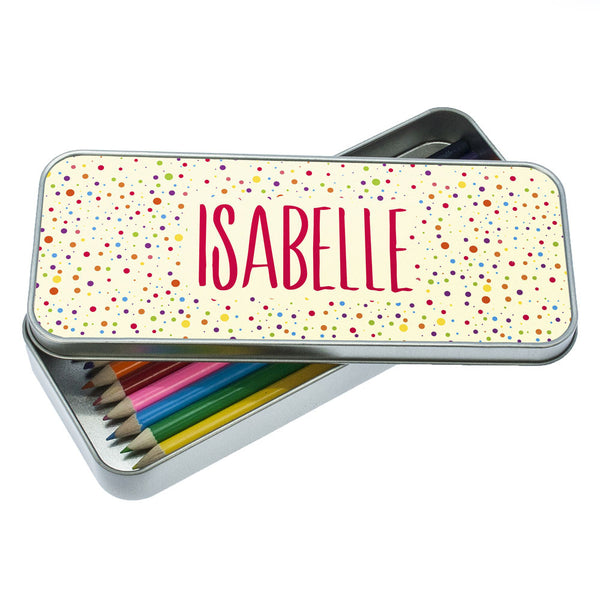 Kid's Multicoloured Dotty Personalised Pencil Case