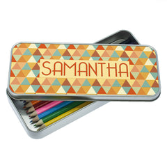 Kid's Multicoloured Pyramids Personalised Pencil Case - Luxe Gift Store - 2