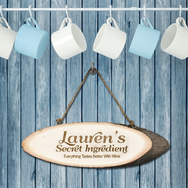 Kitchen 'My Secret Ingredient' Personalised Wooden Sign
